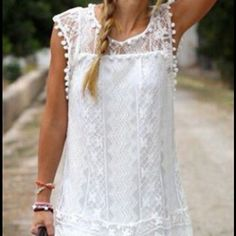 White lace summer dress Adorable white lace summer dress in perfect condition--never worn. I can't get a refund so I am trying to sell on poshmark--in perfect condition. No stains or rips. Very cute but runs small. Dresses Mini