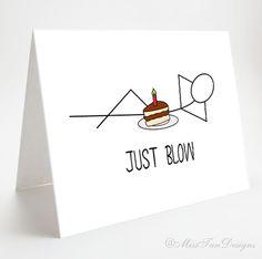 Funny Card Just Blow Boyfriend Card Birthday by MissTanDesigns