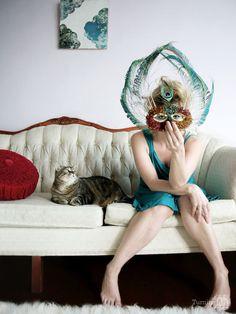 Peacock mask by San Francisco artist Kelly Nicolaisen.