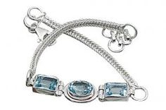 Blue Topaz Sterling Silver Snake Chain Bracelet