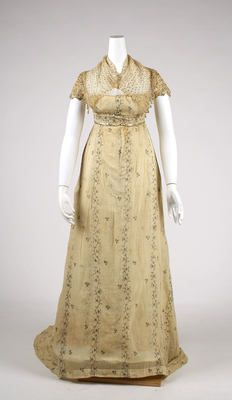 French trained gown, ca.1810 spangled net.  This is gorgeous.  It wouldn't look much out of place as a formal today!
