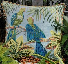 Exotic birds in the Tropics. Tropical Birds, Exotic Birds, Tent Stitch, Long And Short Stitch, Tapestry Kits, Traditional Interior, Needlepoint Kits, Colour Images, Cushions