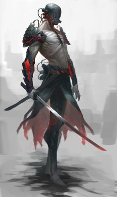 Cyber-Samurai by on DeviantArt Fantasy Samurai, Samurai Warrior, Fantasy Warrior, Sci Fi Fantasy, Dark Fantasy, Character Concept, Character Art, Concept Art, Robot Ninja