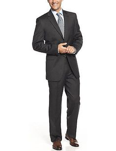 JONES NEW YORK Trent Charcoal Wool 2pc Suit 38 Short 38S Pants 31.5W $650