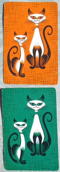 Vintage siamese cat playing cards
