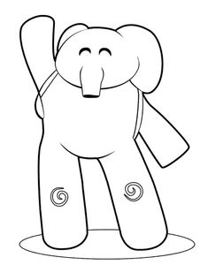 The elephant of Pocoyo, Elly coloring page Eli Pocoyo, Peppa Pig Drawing, Happy Birthday Wishes Song, Quiet Book Templates, Christmas Tree Themes, Free Printable Coloring Pages, Cartoon Drawings, Kids And Parenting, Activities For Kids