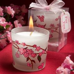 Cherry blossom is a beautiful Asian symbol of love, romance, affection and good fortune. Bring romance and beauty to your next special occasion with these cheery cherry blossom design candles! Candle Wedding Favors, Bridal Shower Favors, Candle Favors, Cherry Blossom Party, Cherry Blossoms, Wedding Themes, Wedding Ideas, Trendy Wedding, Fall Wedding
