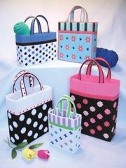 Plastic canvas totes.