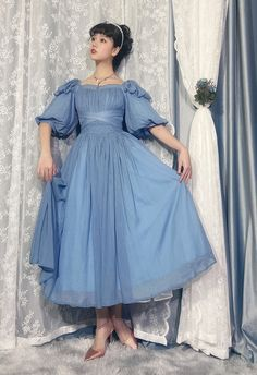 Lost Angel -Afuluoditei- Long Version Lolita OP Dress Retro Outfits, Vintage Outfits, Cute Outfits, Vintage Fashion, Modern Vintage Dress, Vintage Dresses, Next Fashion, Cosplay Outfits, Lolita Dress