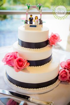Black, Pink and White Wedding Cake | Lego Cake Toppers | Photographed by Studio Veil | www.studioveil.com