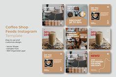 Coffee Shop Instagram Feeds Template - Social Media Templates - Free PSD Templates