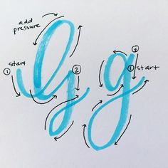 Letter G ♥ Brush lettering. Start with crayola markers Calligraphy Handwriting, Calligraphy Letters, Cursive, Penmanship, How To Caligraphy, Calligraphy Alphabet Tutorial, Hand Lettering Alphabet, Brush Lettering, Hand Lettering Practice