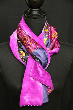 Silk velvet & satin scarf with beads. See more on www.etsy.com/shop/SlinkySilk