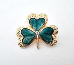 Shamrock Vintage Enamel Lapel Pin Brooch  St. by vintagejunque