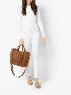 MICHAEL KORS Brooklyn Large Leather Tote. #michaelkors #bags #polyester #tote #leather #lining #shoulder bags #hand bags #