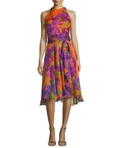TBQL1 Carmen Marc Valvo Sleeveless Floral-Print Silk Dress, Violet