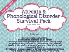 Looking for some all-inclusive materials to work with kids who have apraxia or phonological disorders? This product is sure to have what you need!