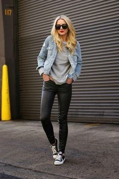 How should you wear leather pants in the fall? Try Atlantic Pacific's Blair Eadie's approach and pair with a simple t-shirt, Converse sneakers, and a jean jacket. Click for more ideas!
