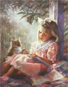 Illustration/Painting by Kathryn Fincher Paintings I Love, Beautiful Paintings, Pastel Paintings, Cat Paintings, Pinturas Em Tom Pastel, Vintage Children, Art Children, Cat Art, Art Pictures