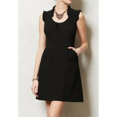 $45.99 Vintage Ruffled Collar Flounce Edge Sleeveless Dress For Women