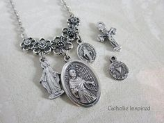 St. Maximilian Kolbe Choose 2 Charms Necklace  by CatholicInspired