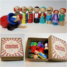 Roll Up. Roll Up. The Rainbow Peg Doll circus is coming to town. Create the greatest show on earth with our peg doll circus performers including clowns, acrobats, the strongest man in the world plus more! These wooden toys will inspire young imaginations and promote independent play.
