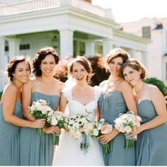 A #DessyRealWedding with bridesmaids donning a stunning shade of #blue we couldn't love more. Share your own photos with the hashtag #DessyRealWeddings! Photo via @WeddingtonWay