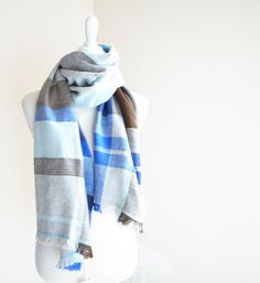 Cashmere Scarf Blue Brown Mix Handwoven 20 x 73 by Handarbete