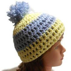 Crochet Scrap Yellow and Blue Stripe Pom Pom by AddSomeStitches, $12.50