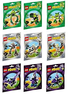 He does not have grayish green or the purple.  He has the green sets at the top.  LEGO Mixels Series 3 Complete Set of All Figures/Characters LEGO http://www.amazon.com/dp/B00MHDIJB0/ref=cm_sw_r_pi_dp_AAzvub1E9GN5Q