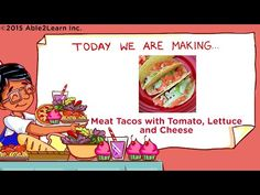 Free Meat Taco With Lettuce Tomato Cheese Visual Recipe And Comprehension Sheets for children, able2learn provides free teaching resources, aba materials, esl, flaschards, picture recipes, and educational material for all children , math worksheets, language arts, social studies, social stories,  inclusive of autism and other developmental disabilities