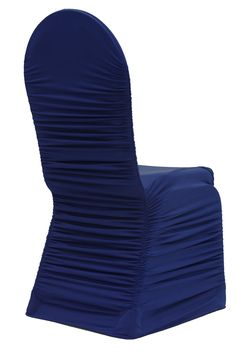 Ruched Fashion Spandex Banquet Chair Cover - Navy Blue  ● As Low as $4.99 ● Available from www.cvlinens.com