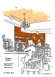 Tea and scones at the Athans Cafe in Washington Square Brookline, Massachusetts,  (cafe sketch by Michael Cucurullo)