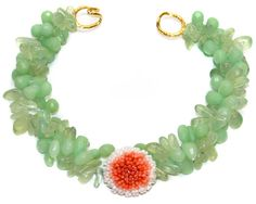 Dyed Jade faceted teardrops with Prehnite beads and White and Orange Coral center medallion with tiffany clasp.