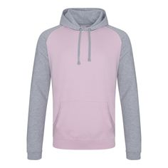 Just Hoods JH009 Baby Pink and Heather Grey Baseball Hoodie - £15.75