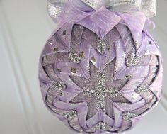 Items similar to Quilted Ornament Ball/Lavender and Silver - Pleasant Surprise on Etsy Folded Fabric Ornaments, Quilted Ornaments, Christmas Holidays, Xmas, Ornament Box, Holiday Decorations, Balls, Lavender, Quilting
