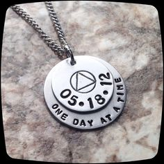 Sobriety Gift, One Day at A Time, Sobriety, Addiction Recovery Necklace, Sobriety Date Jewelry