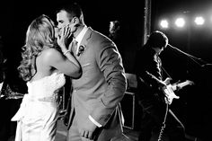 This Shot of the Bride and Groom is Amazing- Right in Front of the Band-Donna Von Bruening Photography #wedding #photography #southernwedding
