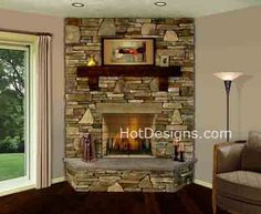 Brick and Stone Fireplace Designs 2 Corner Wood Stove, Corner Stone Fireplace, Stone Fireplace Designs, Basement Fireplace, Fireplace Mantle, Corner Fireplaces, Fireplace Ideas, Living Room Windows, Living Room With Fireplace