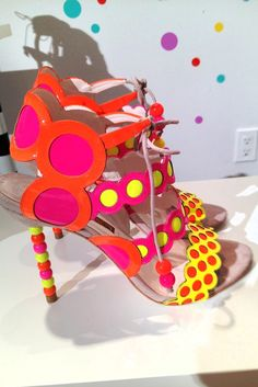 Resort Footwear Highlights: Neon patent roundel sandals with beaded heels at Sophia Webster