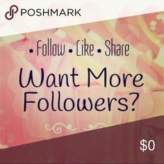 Follow Game The rules for the Follow Game are: 1. Follow me 2. Like this listing 3. Follow everyone else who liked this listing and 4. Share for others to get more followers. Other
