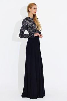 cbc18d2ae5a4e Nidya Moda Büyük Beden Bayan Giyim. Nidya Moda Tesettür Üst Dantel Kombin  Çelik Abiye Elbise-Lacivert