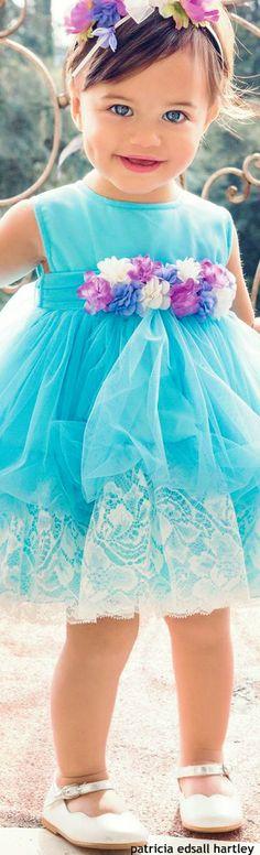 Aletta flower girl dress in scuba blue