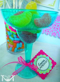 candy filled margarita glass with cute tag