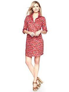 Printed sateen shirtdress. The Gap. @Ginger Lyon you need this.