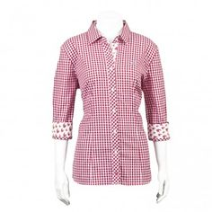 Thomas Dean Co. | Women's TD Collegiate Washington State University Game Day 3/4 Sleeve Gingham Shirt with Logo - Women's Collegiate
