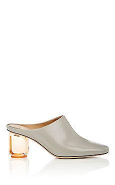Acrylic-Glass-Heel Leather Mules