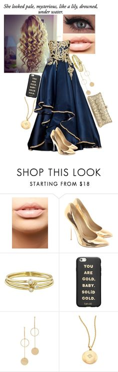 """""""Golden Girl"""" by frootloop16 ❤ liked on Polyvore featuring MDMflow, Giuseppe Zanotti, Jennifer Meyer Jewelry, ban.do, Cloverpost and Astley Clarke"""