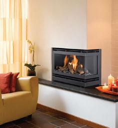 Dry wall around fireplace insert with granite hearth