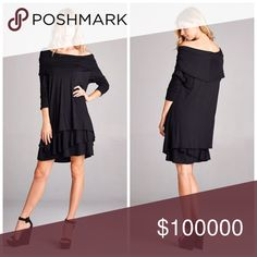 Stunning on or off shoulder asymmetrical hem dress Loose fit, long sleeve, off shoulder/cowl neck, tiered dress. This dress is made with medium weight knit jersey that is very soft, drapes beautifully, stretches well and is not sheer. This dress can be worn as cowl neck or as off shoulder. Dresses